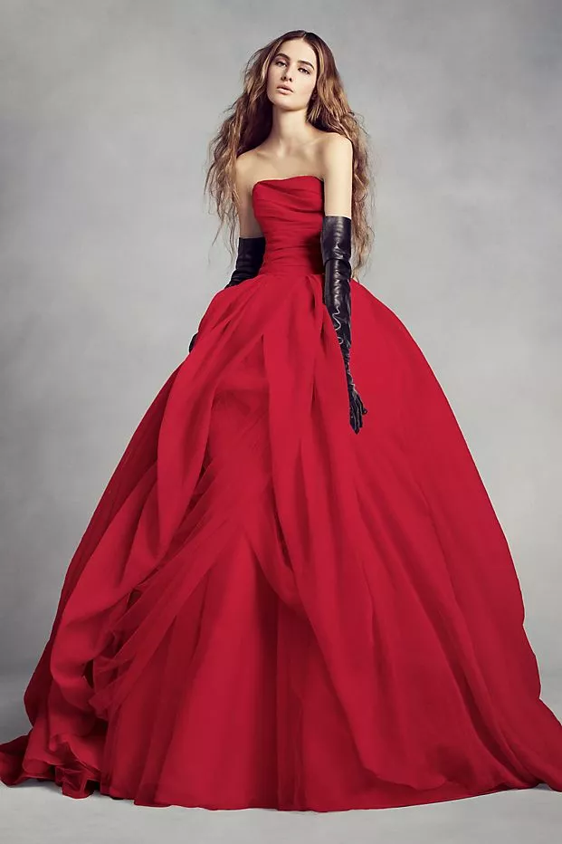 Colored Wedding Dresses For To Be Weds Who Don T Want To Wear White In 2020 Davids Bridal Wedding Dresses Red Wedding Gowns Red Wedding Dresses