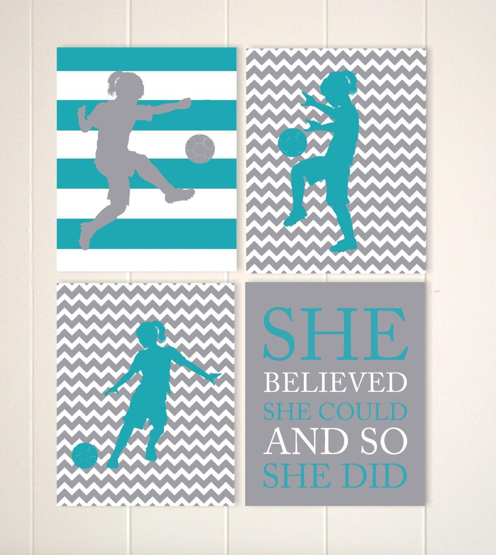 Girls Soccer Wall Art, Soccer Girl, Soccer Quote Art, Girls Motivational Art ,