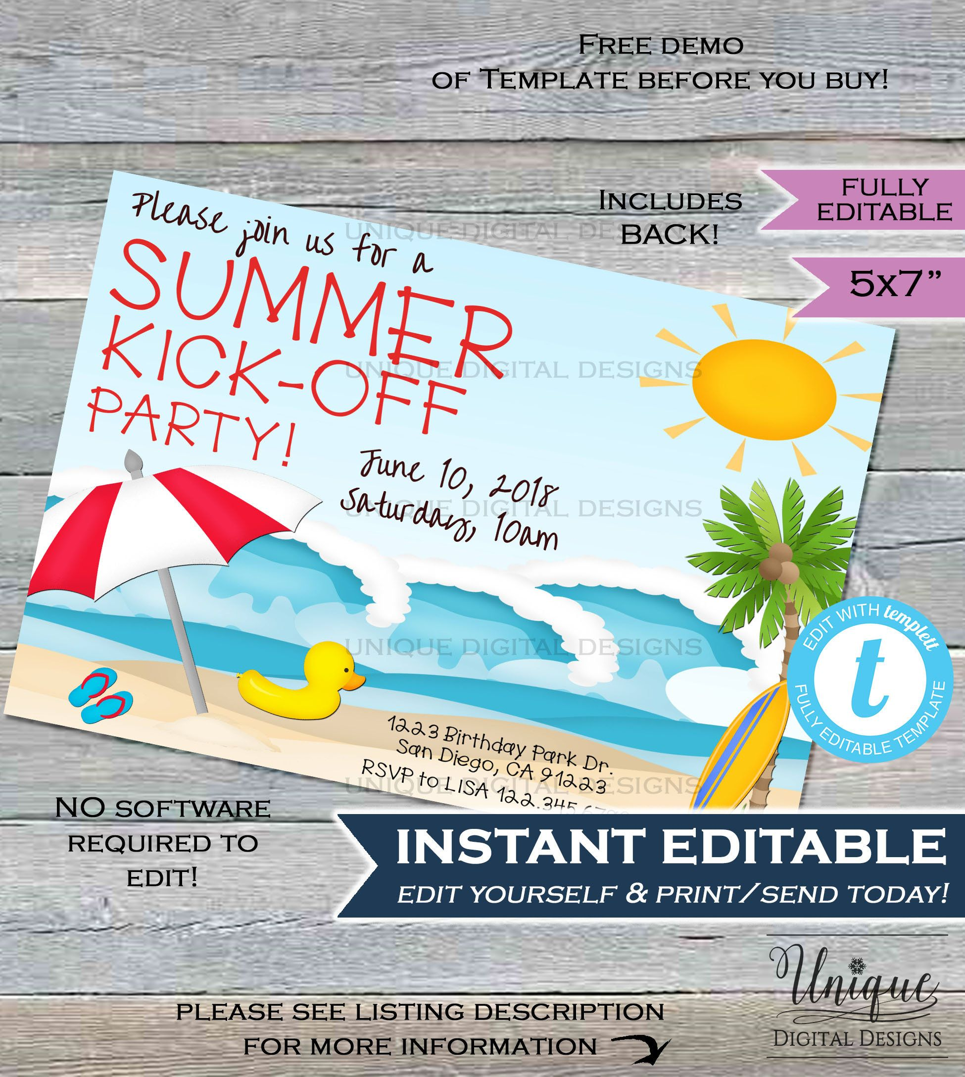 Summer Kickoff Party Invitation Editable Summer Beach Picnic Etsy Beach Party Invitations Party Invitations Party