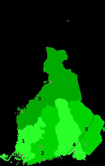 Läänis of Finland 1634-1640 - Suomen läänit 1634-1640 1. Turun lääni 2. Uudenmaan ja Hämeen lääni 3. Pohjanmaan lääni 4. Karjalan lääni 5. Käkisalmen lääni
