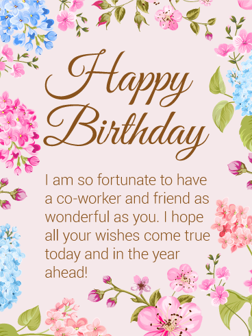 Send Free Happy Birthday Flower Card For Co Worker To Loved Ones On