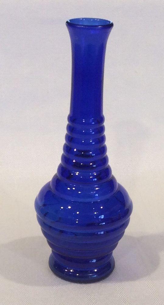 Vintage Usa Cobalt Blue 8 Beehive Or Ribbed Ball Vase Blue
