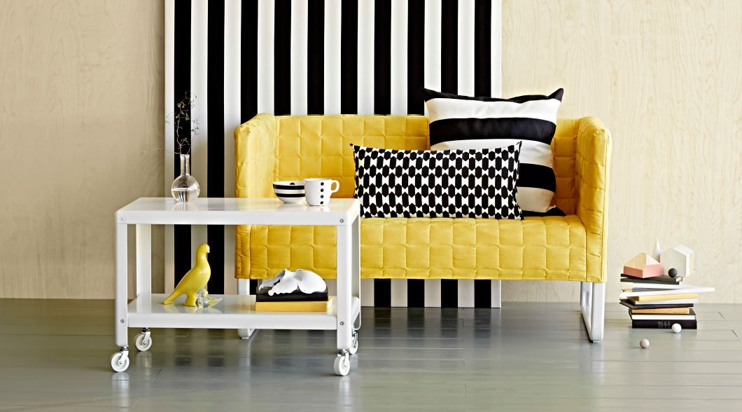 Display Of A Yellow Fabric Covering Knopparp Two Seat Sofa And A White Coffee Table On Castors Mit Bildern Ikea Inspiration Knopparp Ikea Ikea Sessel