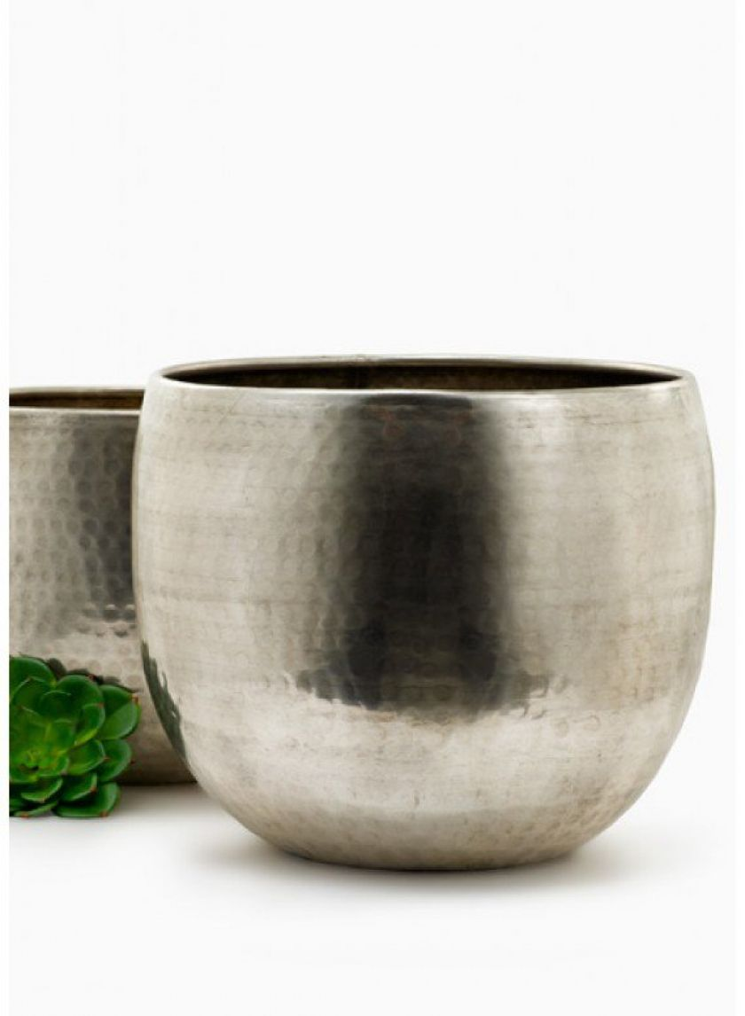9 12in 11in hammered antiqued silver planters
