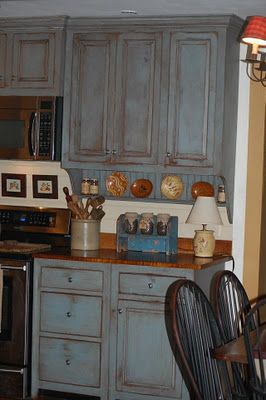 Distressed Blue Kitchen Cabinets Love The Wood Counter Tops