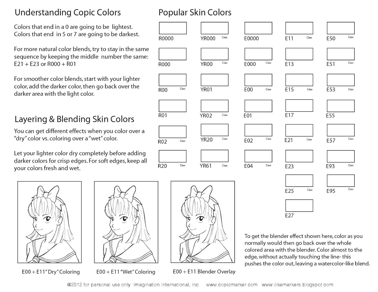 Popular Copic Skin Colors Blank Sheet For Practice And
