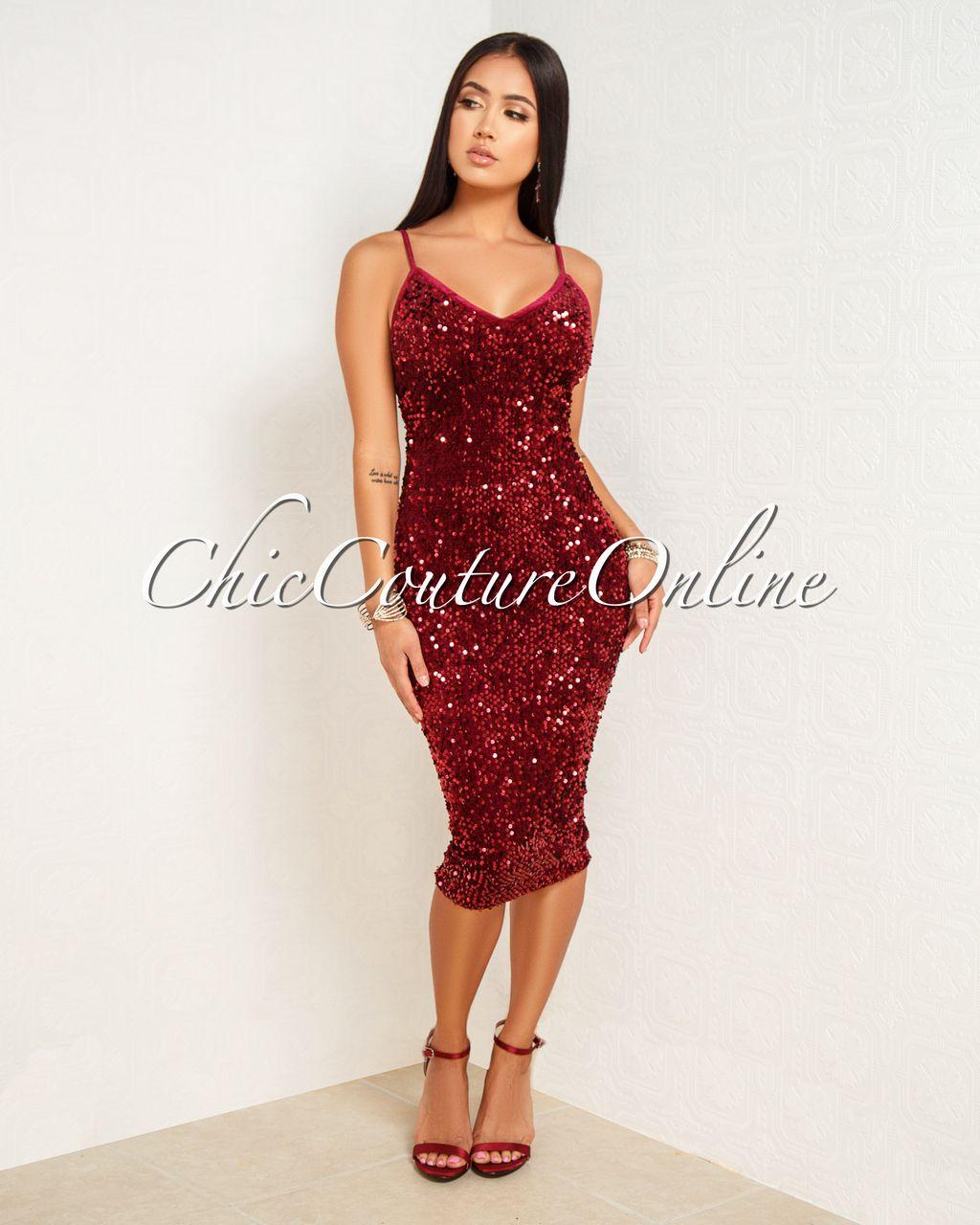 26c1649e700 Chic Couture Online - Venetti Wine Red Velvet Sequins Midi Dress