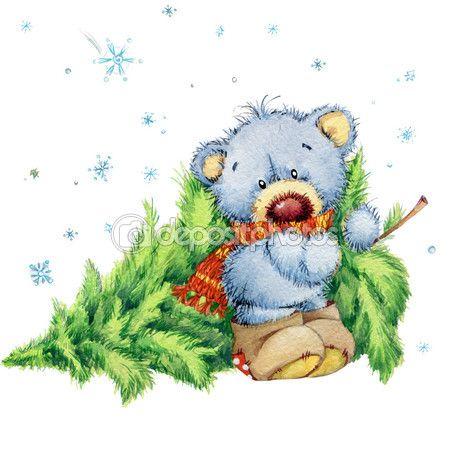 Новогодний плюшевый мишка. рождественский ряд. акварель — стоковое изображение #60960193