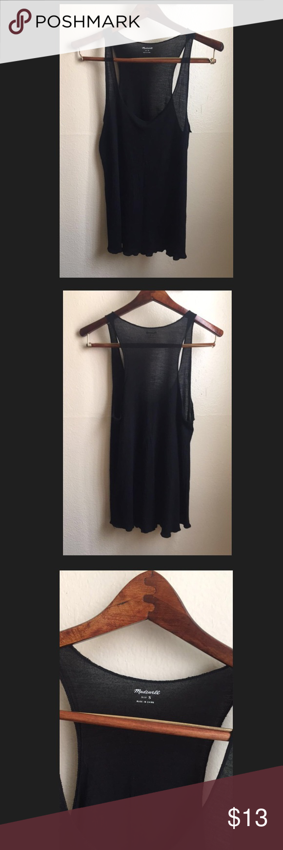 Madewell tank top Super soft and comfy Madewell tank top that can easily be layered. Has two tiny holes as shown in pictures. In great condition! Tops Tank Tops
