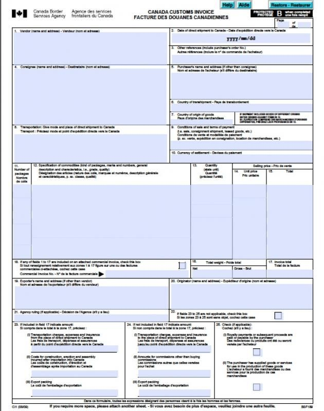Printable Commercial Invoice Template Word