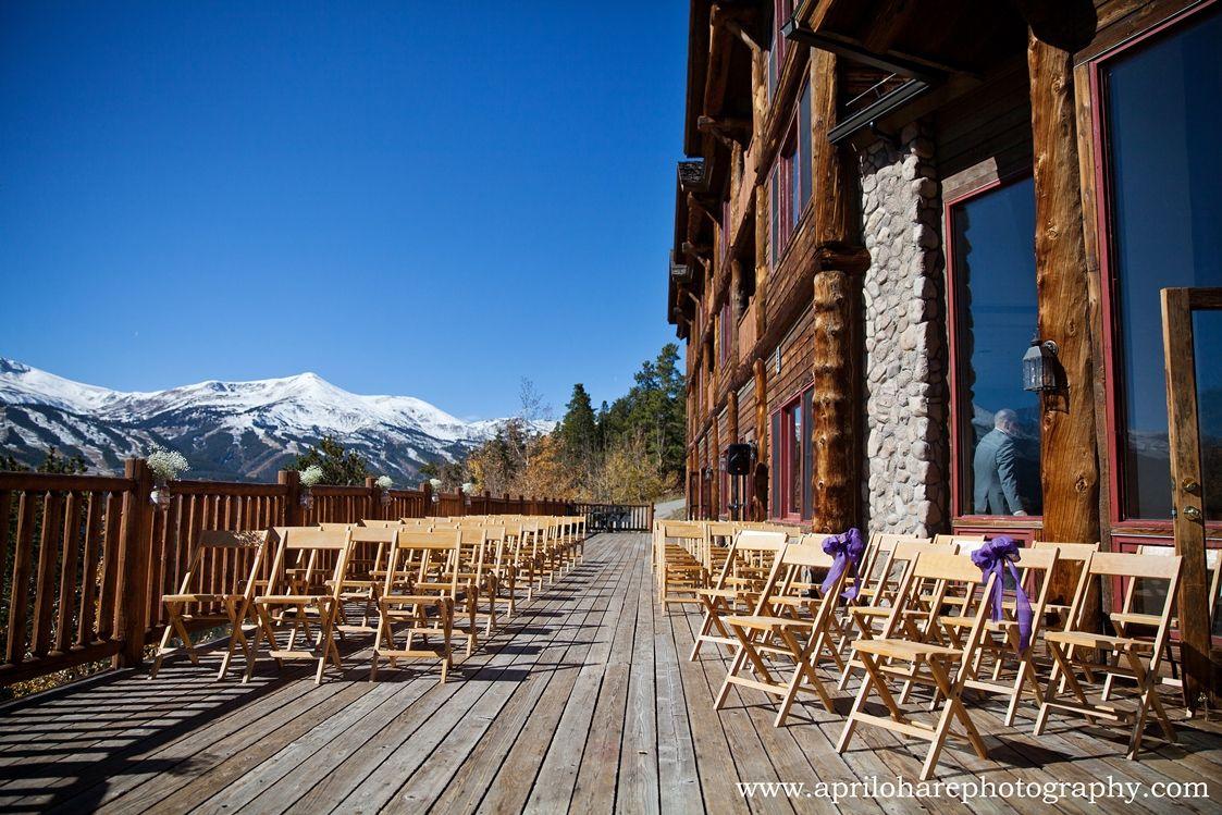 The Lodge At Breckenridge Ceremony Ailse Set Up On Deck Photo By April O Hare Breckenridge Wedding Breckenridge Winter Colorado Wedding Venues