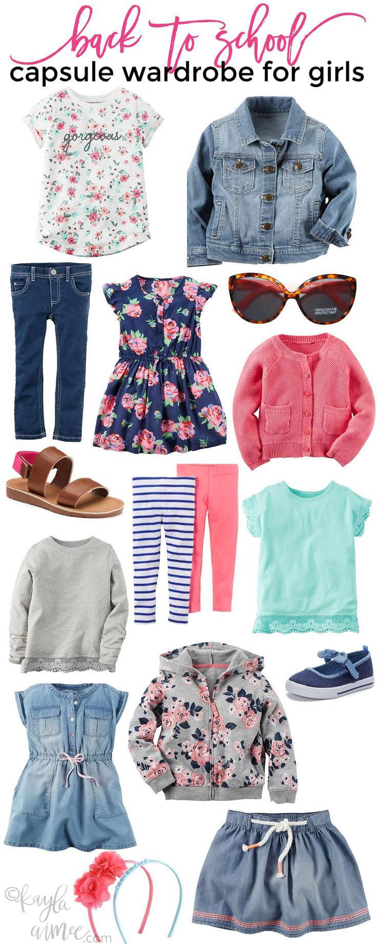 Back To School Capsule Wardrobe For Girls is part of Clothes Style For Girls - This post is sponsored by Kohl's  I was paid for this post and received the included Carter's clothing as compensation  My five year old starts kindergarten next week so don't mind me, I'm just over