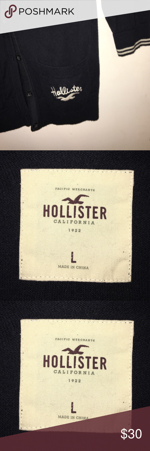 Hollister cardigan Navy blue and white. Hollister Tops