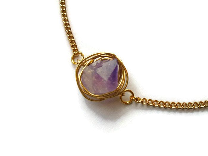 Amethyst necklace wire wrapped raw amethyst pendant gold amethyst amethyst necklace wire wrapped raw amethyst pendant gold amethyst necklace simple amethyst aloadofball Gallery