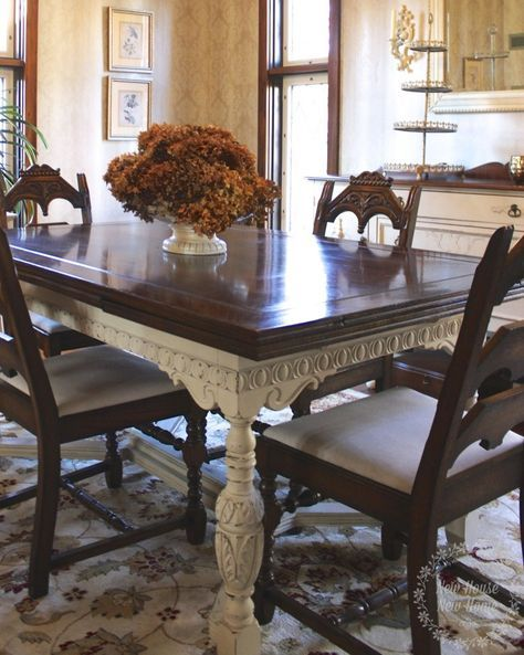 A Jacobean Dining Table Becomes The Latest Painted Furniture Piece In This New House Using Chalk Paint By Annie Sloan Old Ochre