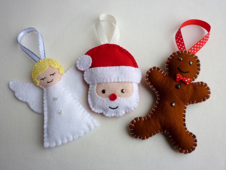 Selection of handmade felt christmas ornaments by