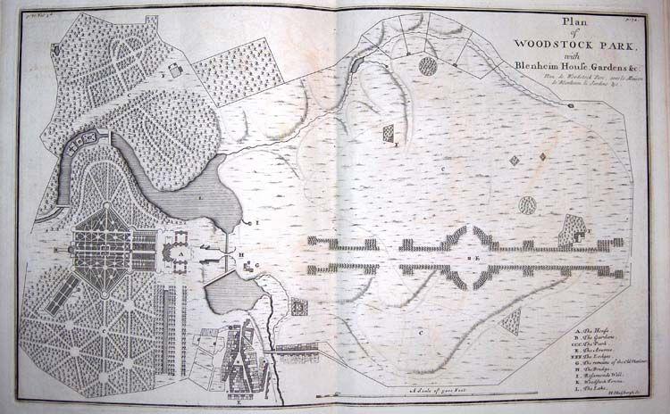 Original landscape plan of blenheim palace by lancelot for Capability brown garden designs
