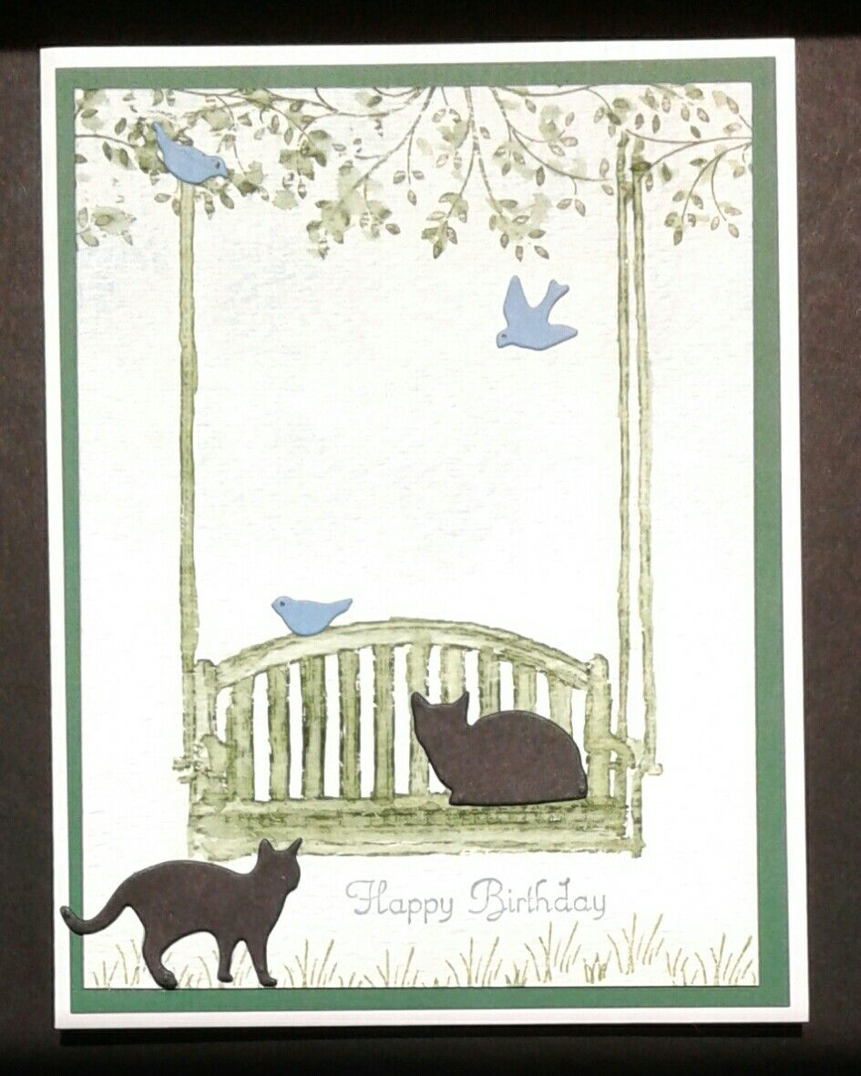 Swing from Stampin Up set called Sitting Here. Cat and bird dies from Impression Obsession. Did water coloring on water color card stock.