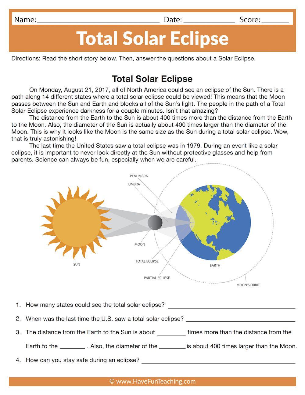Total Solar Eclipse Worksheet Solar System Worksheets Solar Eclipse Reading Worksheets