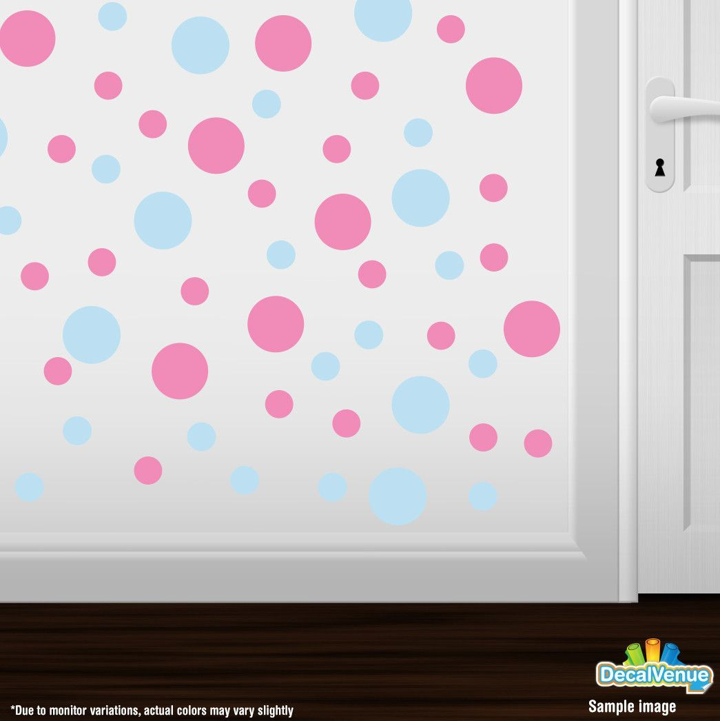 Baby blue pink polka dot circles wall decals baby blue wall baby blue pink polka dot circles wall decals amipublicfo Image collections