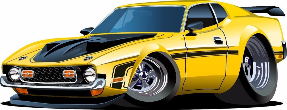 Voiture jaune caricature ford mustang pinterest voiture stickers y dessin - Caricature voiture ...