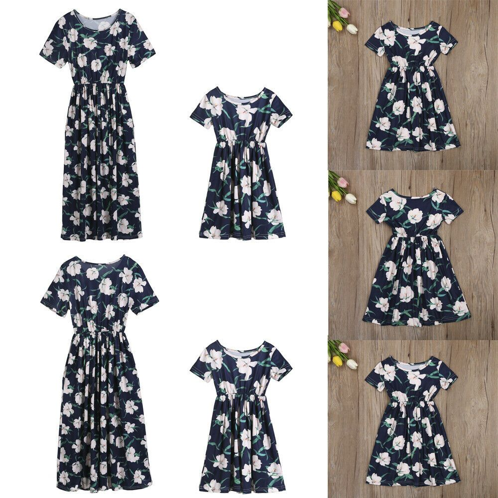 abfc0bf846 (eBay Sponsored) Mommy and Me Family Matching Dress Mother Daughter Floral Holiday  Maxi Dress