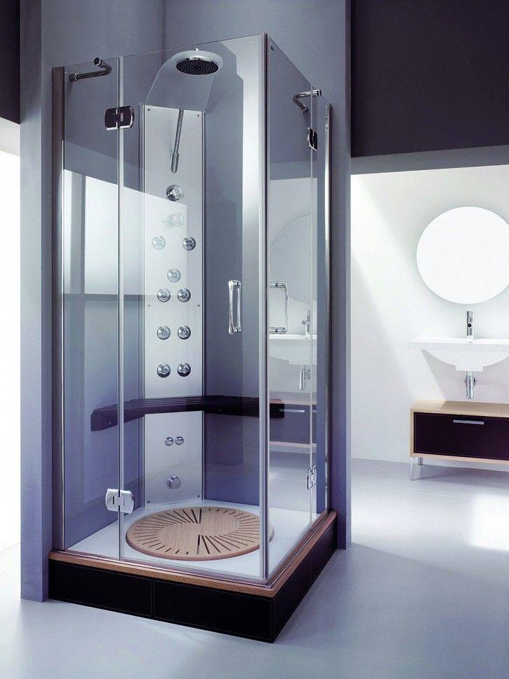 Luxury Furniture Set For Modern Small Bathroom Featuring Corner Sauna Shower  Enclosure Combo With Round Chromed Steel Rain Shower