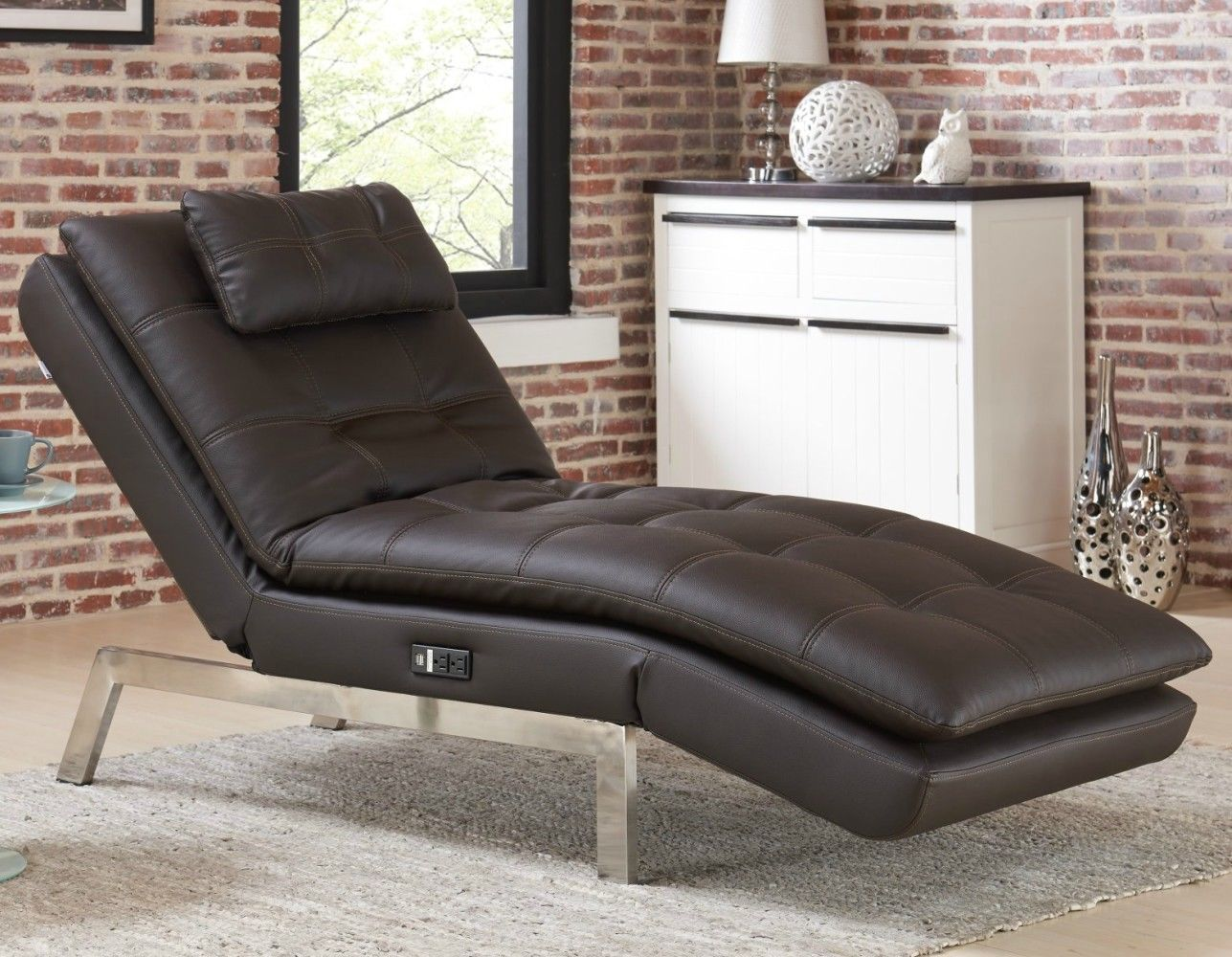Leather Chaise Lounge Chair Modern Quality Sofa Convertible Gaming