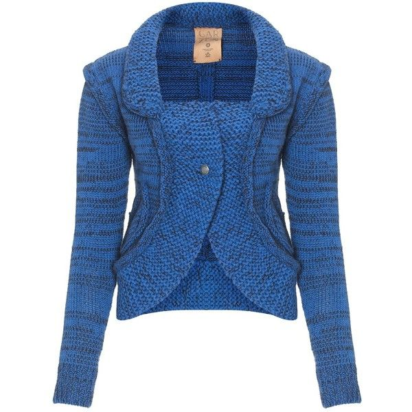 Garzon Blue Merino Mulita Cropped Cardigan (151.475 CLP) ❤ liked on Polyvore featuring tops, cardigans, jackets, sweaters, outerwear, blue, merino cardigan, blue top, collar top and cardigan crop top