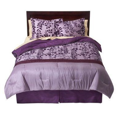 100 Cotton Flocked Comforter Set Full Queen Size Purple By