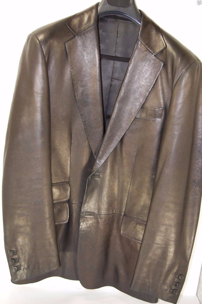 9e08edecb SUPER GORGEOUS !!! GUCCI BY TOM FORD MEN LEATHER FITTED JACKET EU 50 US 40 # GUCCI #TwoButton