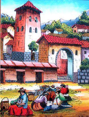 3be9105951c996 Cuzco Chincheros Glass Painting Andean Market Peru | Cholitas in ...