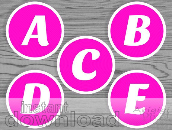 Hot Pink Alphabet Circle White Letters Printable   In Pink