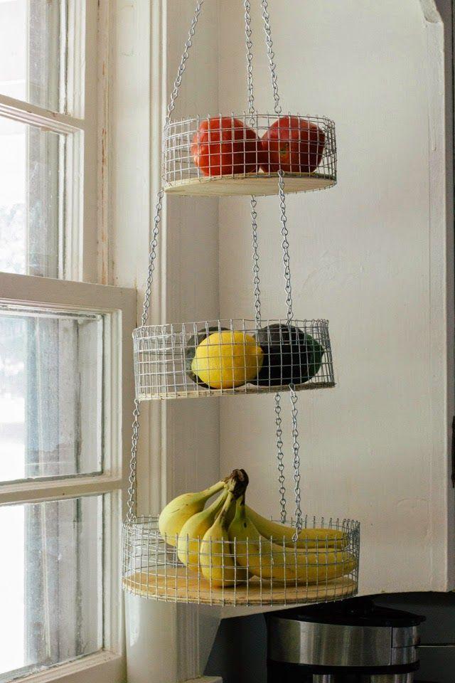 Three Tier Fruit Basket Diy Kitchen Projects Diy Kitchen Decor