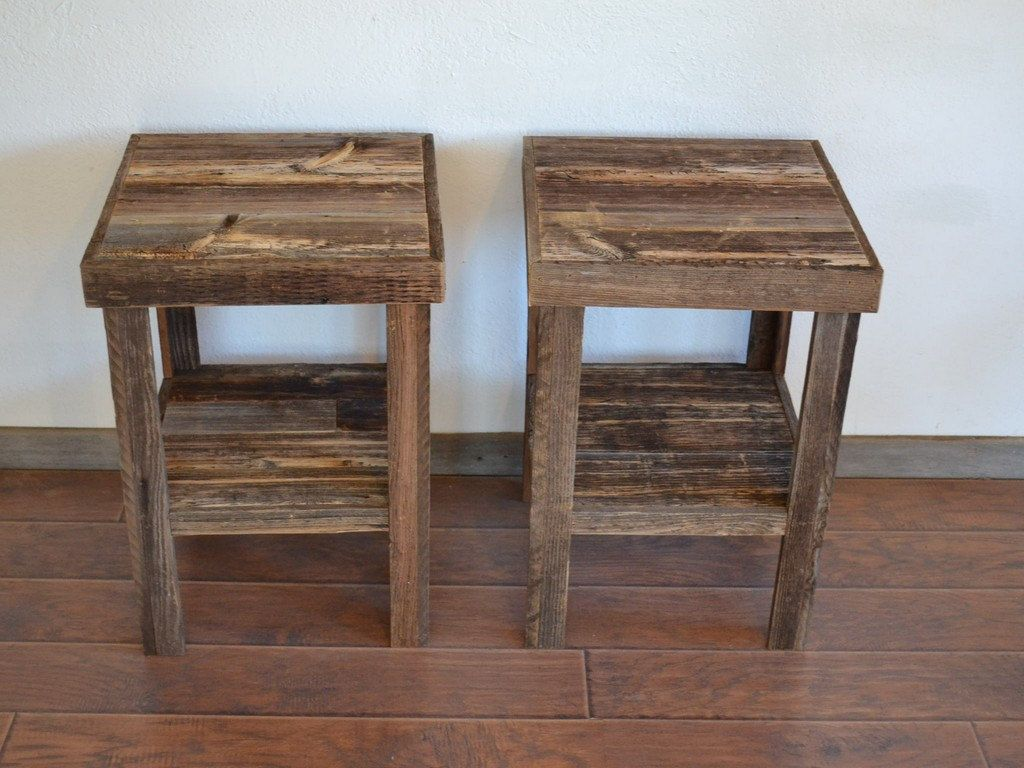 Eco friendly barnwood wood end table or night stand pair 36000