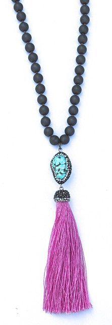 Gaia Silk Tassel Necklace - (more colors)