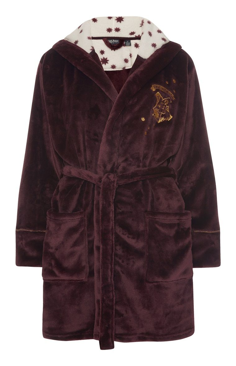 Official Licensed Harry Potter Hogwarts Fleece Robe Bathrobe Dressing Gown Women