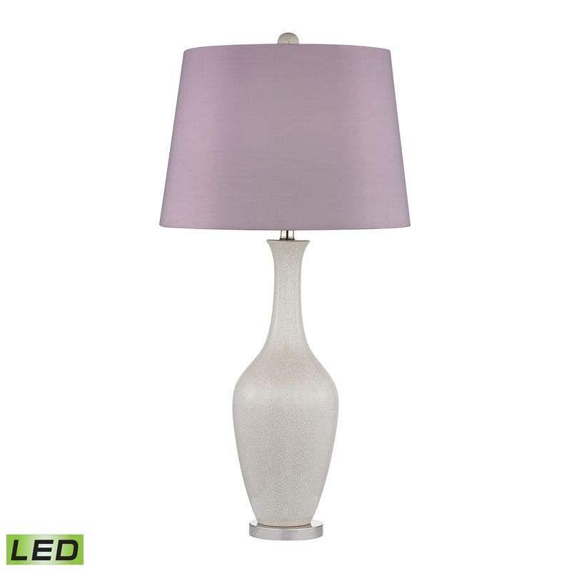 D2532 Led Highworth 1 Light Table Lamp In Cream Crackle With Polished Nickle Led Table Lamp Lamp Table Lamp Lighting