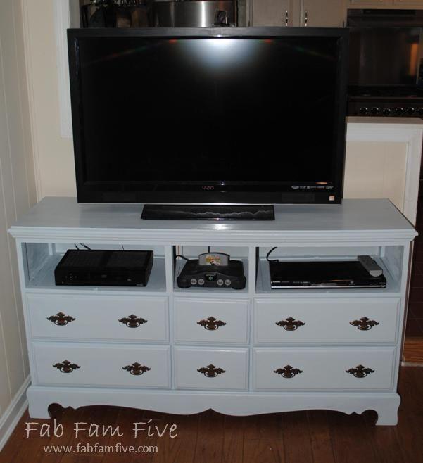 Refinished dresser turned entertainment center!