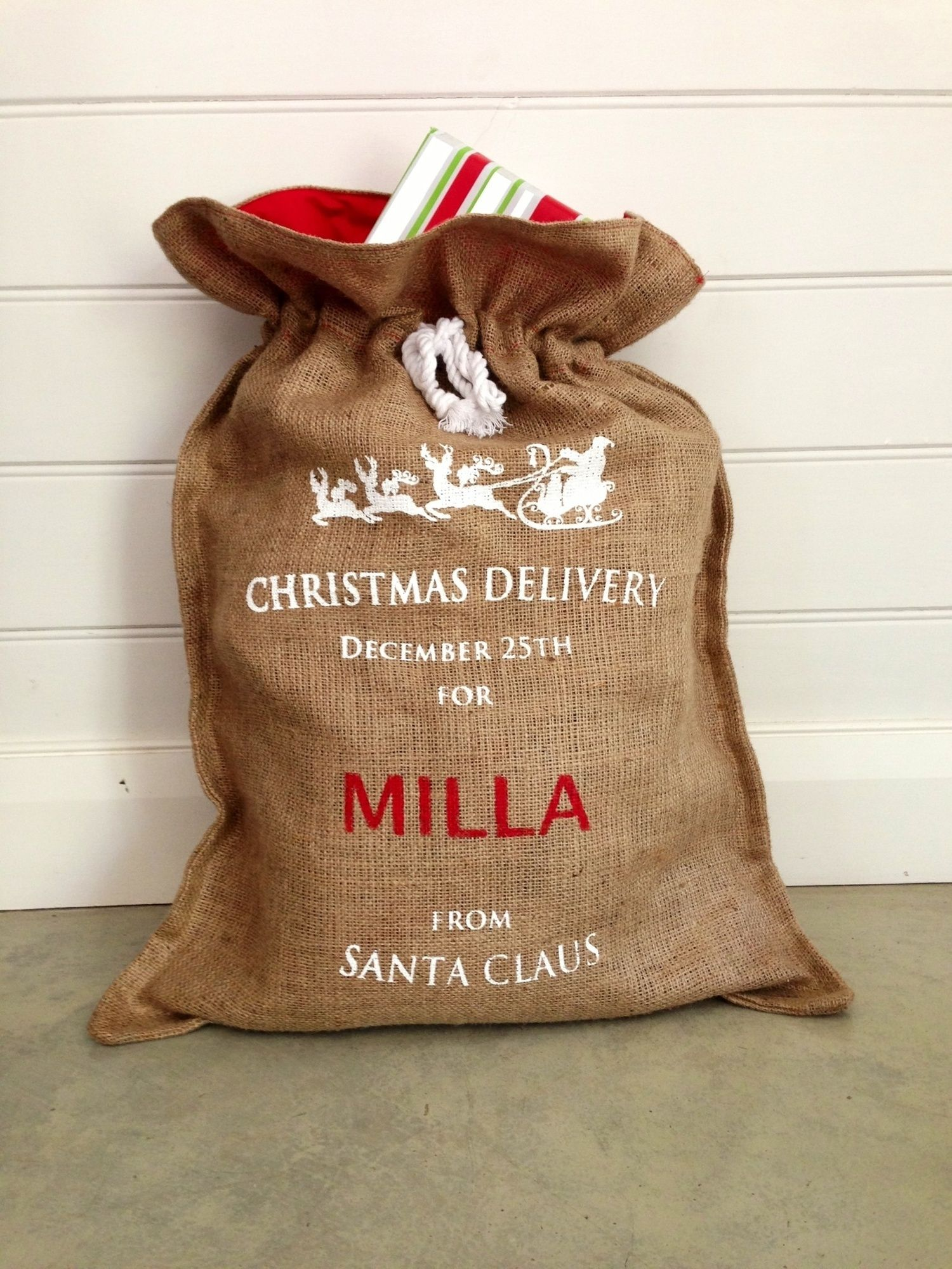 Personalised Hessian Christmas Santa Sack In White