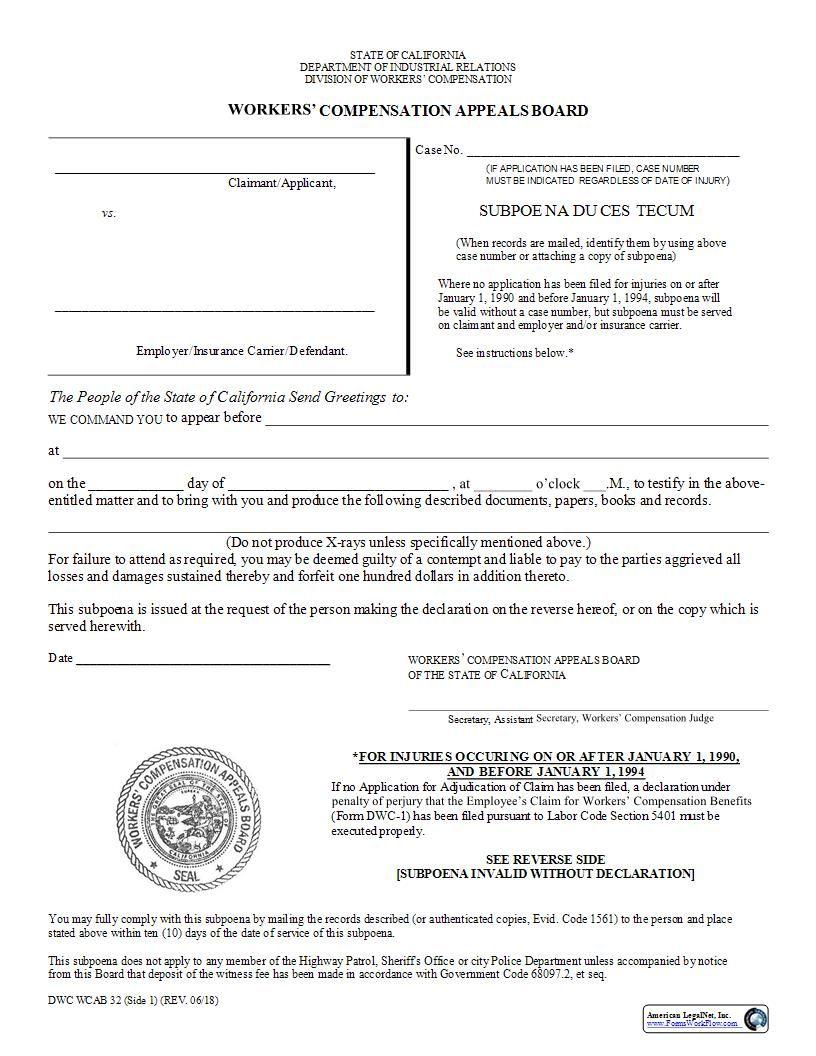 Subpoena Duces Tecum California Judge Signs