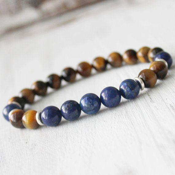 Men Wrist Mala Healing Jewelry Yoga Bracelet Yellow Tiger Eye Lapis Lazuli