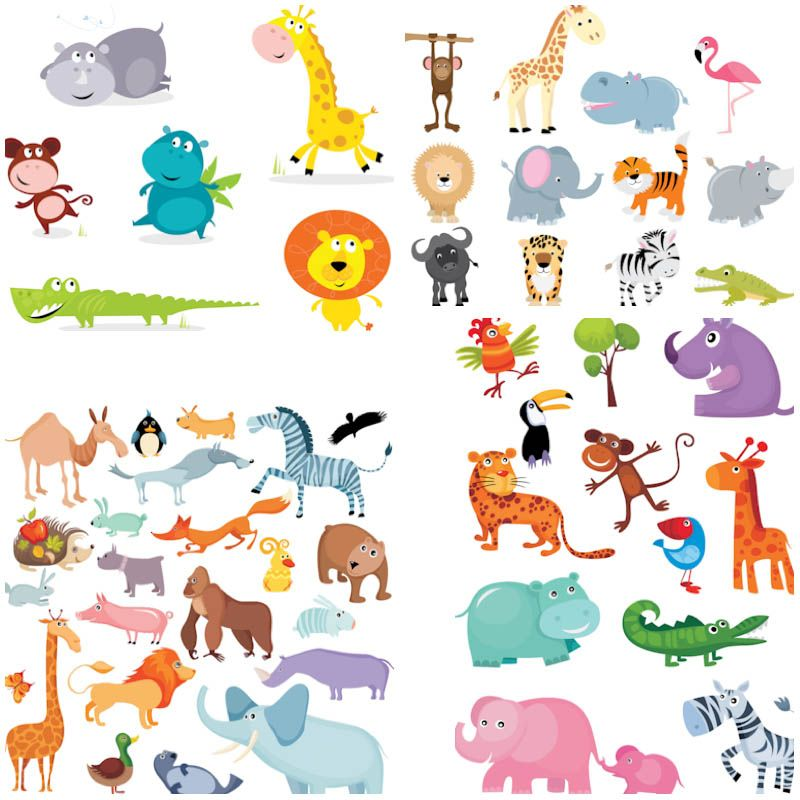 Funny cartoon animals vector