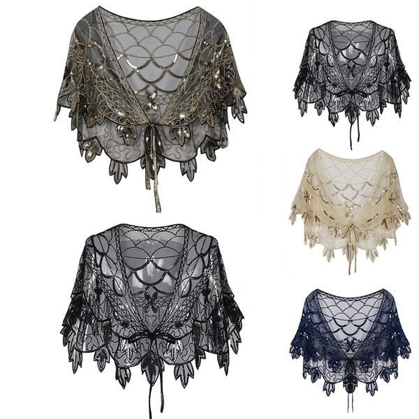 397aef1753 Vintage 1920s Flapper Shawl Sequin Beaded Short Cape Beaded Decoration  Gatsby Party Mesh Short Cover Up Dress Accessory