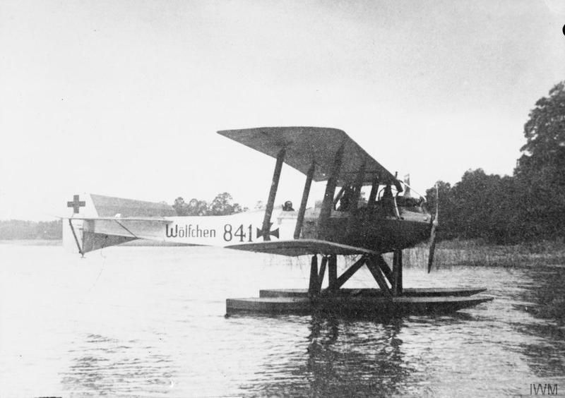 """Q 66477  Friedrichshafen FF.33j two-seat amphibious reconnaissance biplane named """"Wolfchen"""". The aircraft was carried on board the German cruiser SMS Wolf, the commerce raider. Serial number 841."""