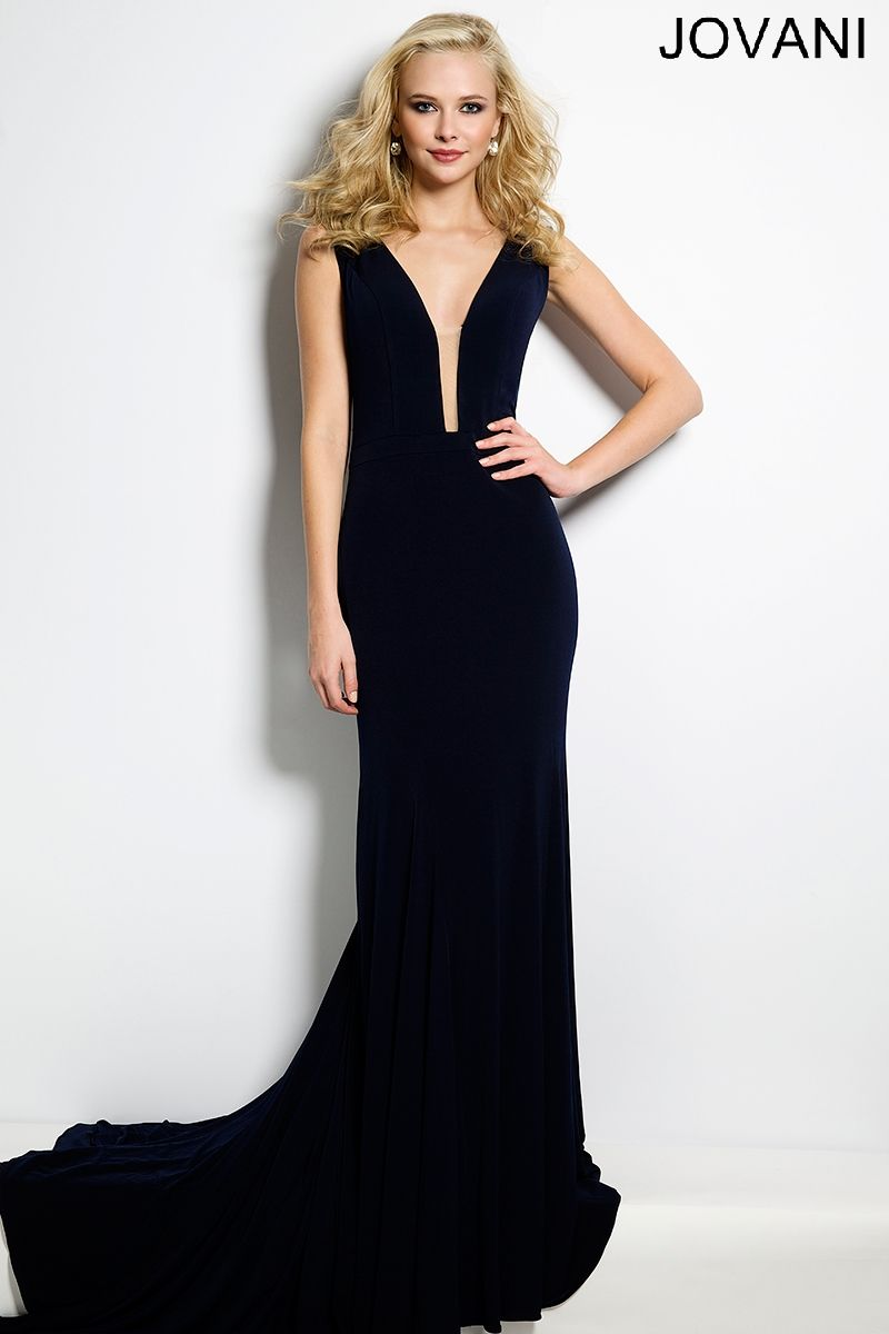 556f48e60db2 Jovani 40786 Black long fitted velvet strapless wedding guest dress with  plunging neckline.