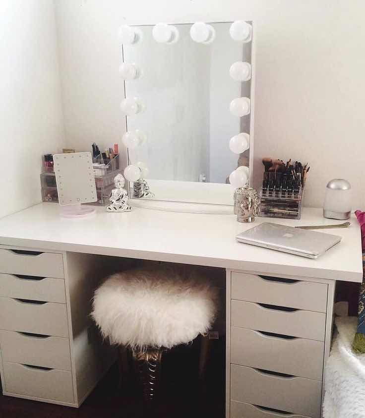 30 tocadores con espejo con luces que te encantar n for White makeup desk with mirror