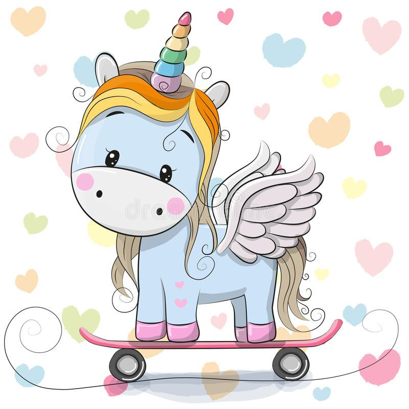Cute Cartoon Blue Unicorn Royalty Free Illustration Cartoon Unicorn Cute Cartoon Unicorn Pictures