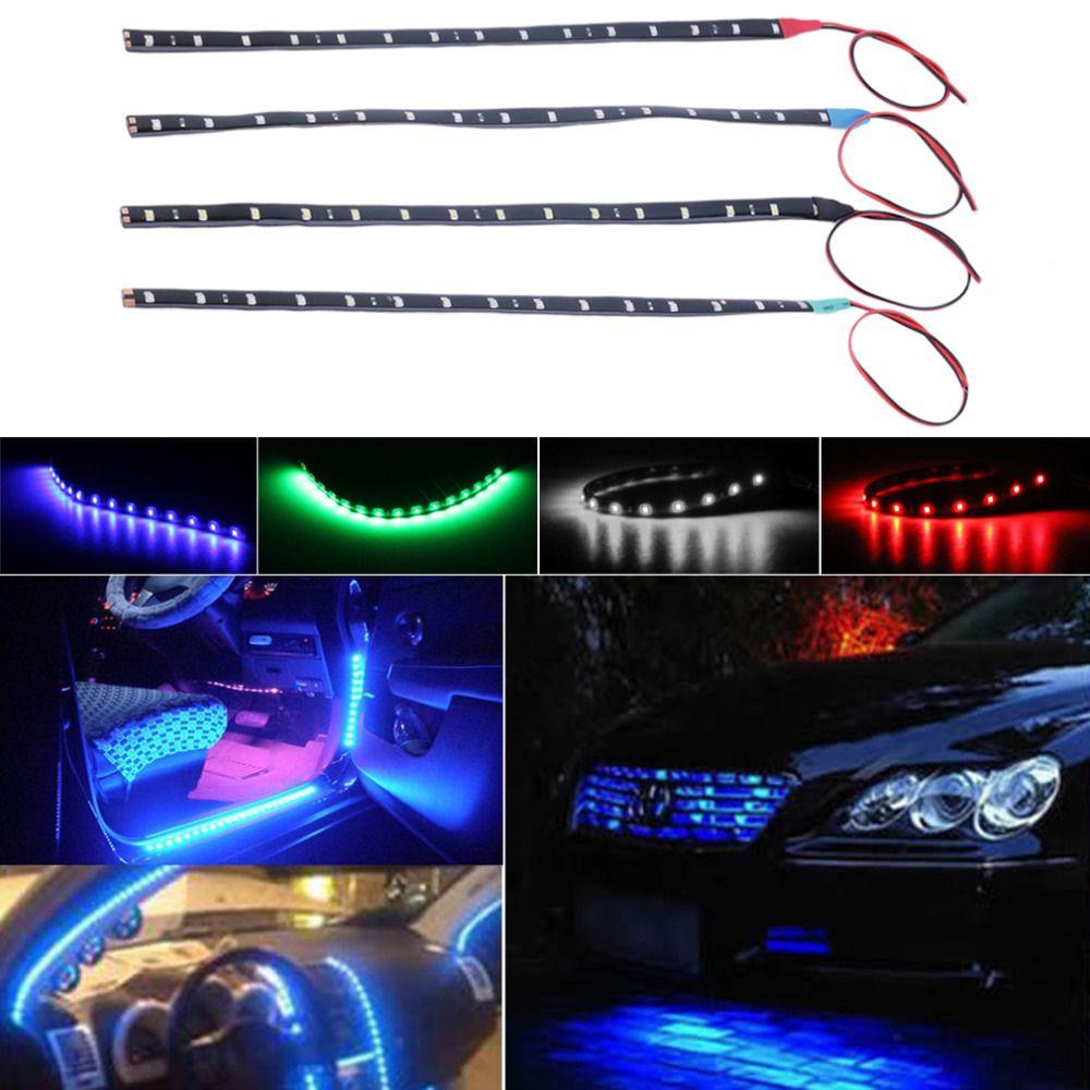 Car Light Assembly 1pcs 10pcs Waterproof 15 Led 30cm Car Styling Super Waterproof Flexible Car Light Daytime Running Li Car Lights Running Lights Car Interior