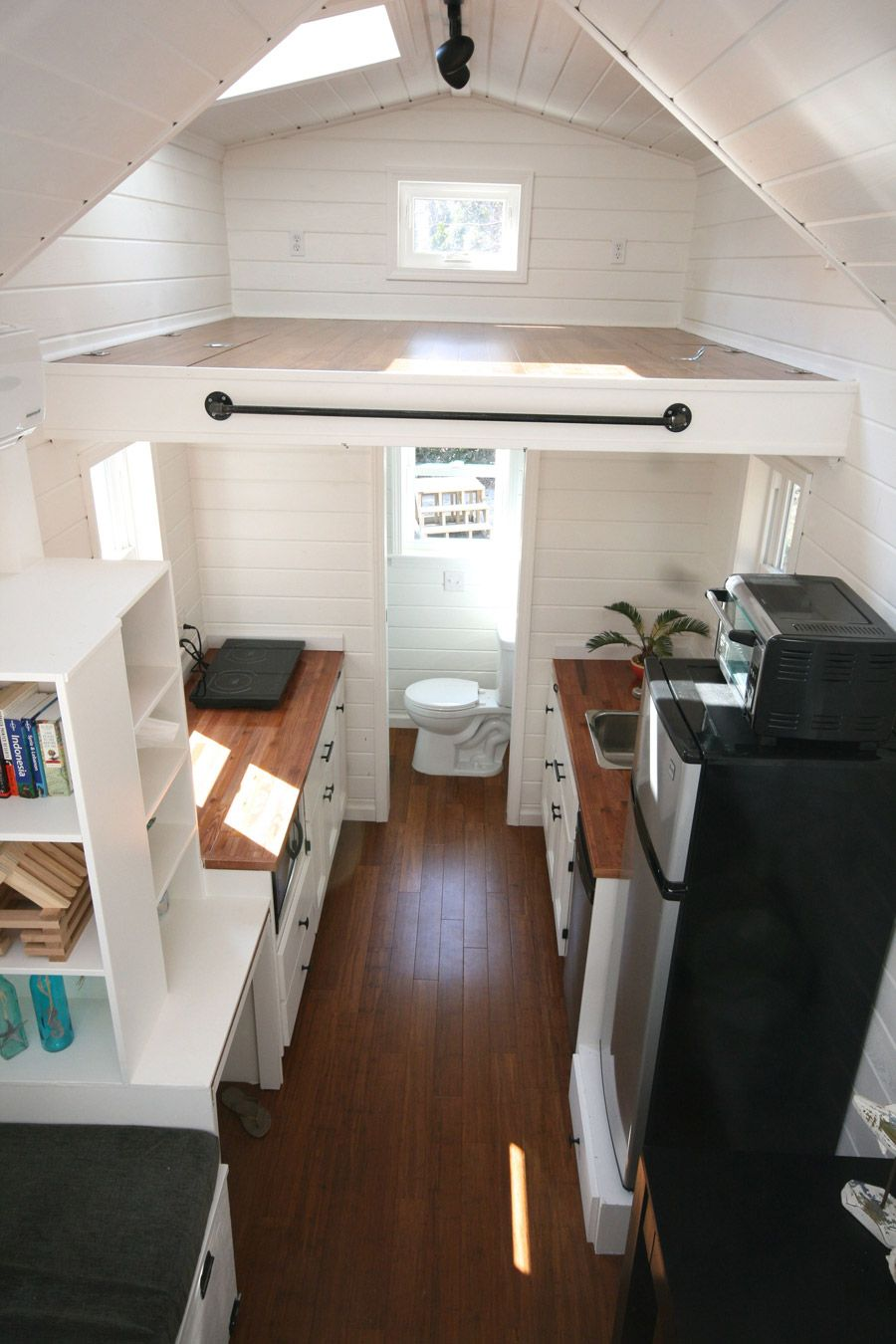Theinaugural Full Downstairs View Love All The White And Wood - Tiny house on wheels interior